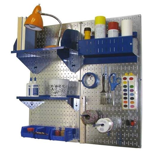 View a Larger Image of Pegboard Hobby Craft Pegboard Organizer Storage Kit with Metallic Pegboard and Blue Accessories