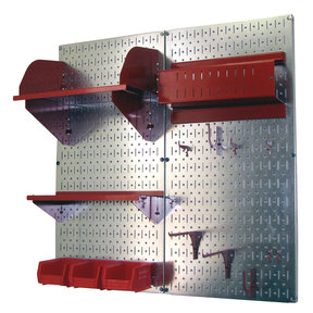 Pegboard Hobby Craft Pegboard Organizer Storage Kit with Metallic Pegboard and Red Accessories