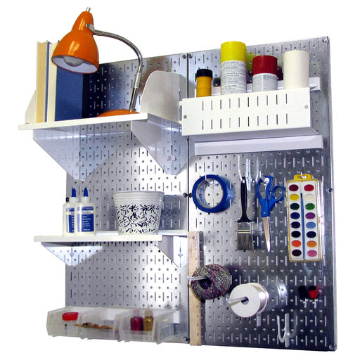 View a Larger Image of Wall Control Pegboard Hobby Craft Pegboard Organizer Storage Kit with Metallic Pegboard and White Accessories