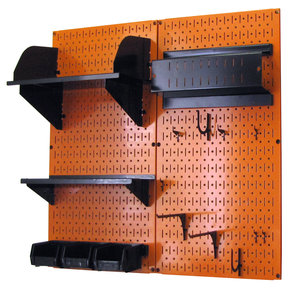 Pegboard Hobby Craft Pegboard Organizer Storage Kit with Orange Pegboard and Black Accessories
