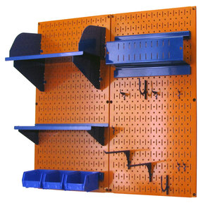 Pegboard Hobby Craft Pegboard Organizer Storage Kit with Orange Pegboard and Blue Accessories