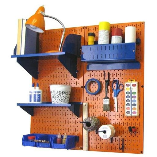 View a Larger Image of Wall Control Pegboard Hobby Craft Pegboard Organizer Storage Kit with Orange Pegboard and Blue Accessories