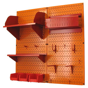 Pegboard Hobby Craft Pegboard Organizer Storage Kit with Orange Pegboard and Red Accessories