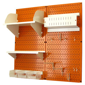 Wall Control Pegboard Hobby Craft Pegboard Organizer Storage Kit with Orange Pegboard and White Accessories