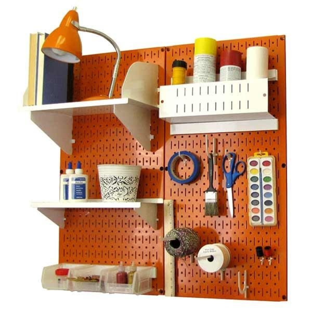 Wall Control 30-CC-200 YW Hobby Craft Pegboard Organizer Storage Kit with Yellow Pegboard and White Accessories