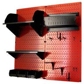 Pegboard Hobby Craft Pegboard Organizer Storage Kit with Red Pegboard and Black Accessories