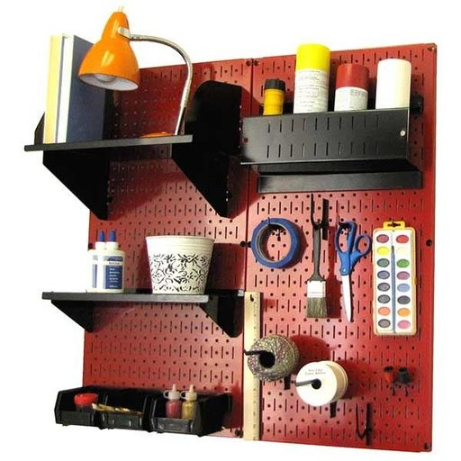 View a Larger Image of Wall Control Pegboard Hobby Craft Pegboard Organizer Storage Kit with Red Pegboard and Black Accessories