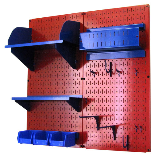 View a Larger Image of Wall Control Pegboard Hobby Craft Pegboard Organizer Storage Kit with Red Pegboard and Blue Accessories
