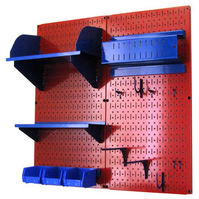 Pegboard Hobby Craft Pegboard Organizer Storage Kit with Red Pegboard and Blue Accessories
