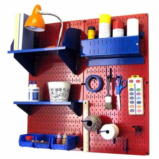 View a Larger Image of Pegboard Hobby Craft Pegboard Organizer Storage Kit with Red Pegboard and Blue Accessories