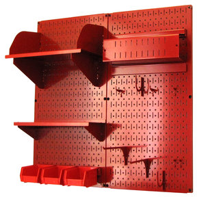 Pegboard Hobby Craft Pegboard Organizer Storage Kit with Red Pegboard and Red Accessories