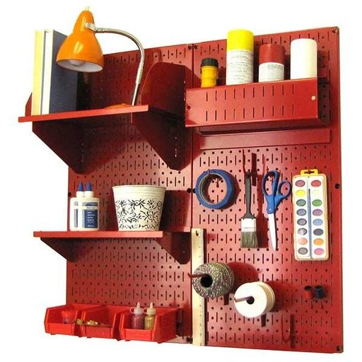 View a Larger Image of Wall Control Pegboard Hobby Craft Pegboard Organizer Storage Kit with Red Pegboard and Red Accessories