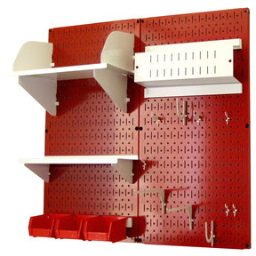 Pegboard Hobby Craft Pegboard Organizer Storage Kit with Red Pegboard and White Accessories