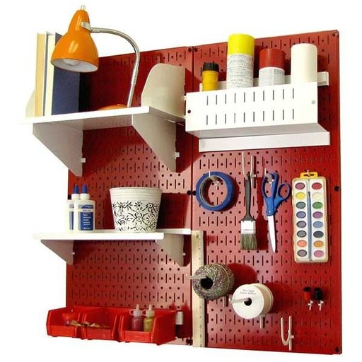 View a Larger Image of Wall Control Pegboard Hobby Craft Pegboard Organizer Storage Kit with Red Pegboard and White Accessories
