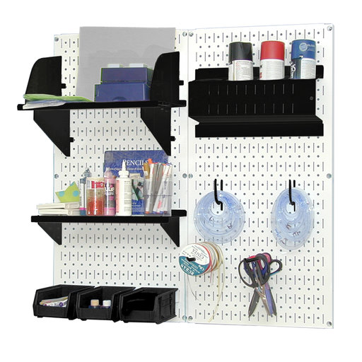 View a Larger Image of Wall Control Pegboard Hobby Craft Pegboard Organizer Storage Kit with White Pegboard and Black Accessories