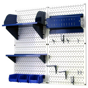 Pegboard Hobby Craft Pegboard Organizer Storage Kit with White Pegboard and Blue Accessories