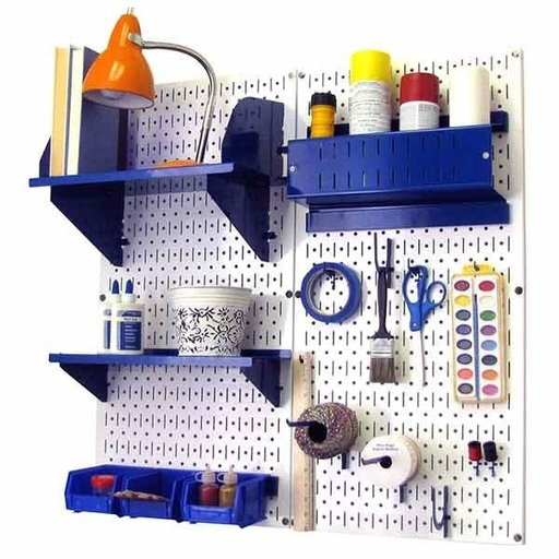 View a Larger Image of Wall Control Pegboard Hobby Craft Pegboard Organizer Storage Kit with White Pegboard and Blue Accessories