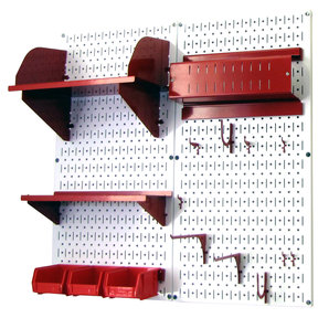 Pegboard Hobby Craft Pegboard Organizer Storage Kit with White Pegboard and Red Accessories