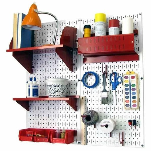 View a Larger Image of Wall Control Pegboard Hobby Craft Pegboard Organizer Storage Kit with White Pegboard and Red Accessories
