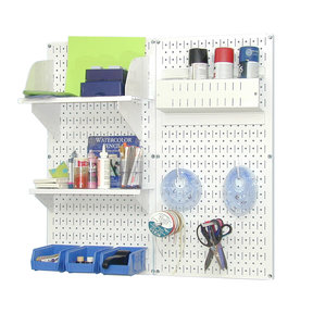 Pegboard Hobby Craft Pegboard Organizer Storage Kit with White Pegboard and White Accessories