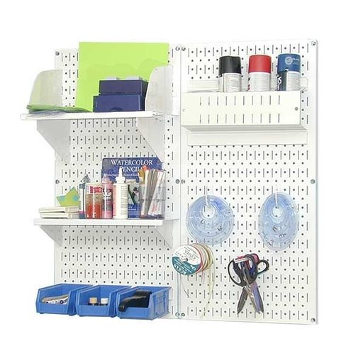 View a Larger Image of Wall Control Pegboard Hobby Craft Pegboard Organizer Storage Kit with White Pegboard and White Accessories