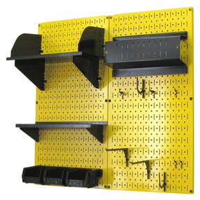 Pegboard Hobby Craft Pegboard Organizer Storage Kit with Yellow Pegboard and Black Accessories
