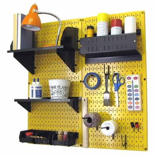 View a Larger Image of Pegboard Hobby Craft Pegboard Organizer Storage Kit with Yellow Pegboard and Black Accessories