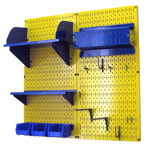 View a Larger Image of Pegboard Hobby Craft Pegboard Organizer Storage Kit with Yellow Pegboard and Blue Accessories