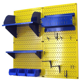 Wall Control Pegboard Hobby Craft Pegboard Organizer Storage Kit with Yellow Pegboard and Blue Accessories