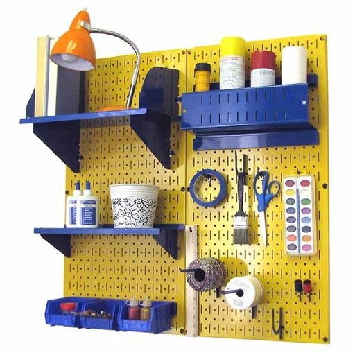 View a Larger Image of Wall Control Pegboard Hobby Craft Pegboard Organizer Storage Kit with Yellow Pegboard and Blue Accessories