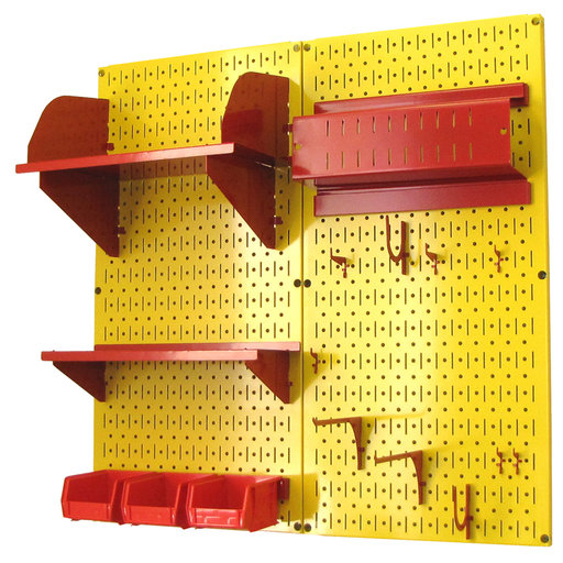 View a Larger Image of Pegboard Hobby Craft Pegboard Organizer Storage Kit with Yellow Pegboard and Red Accessories