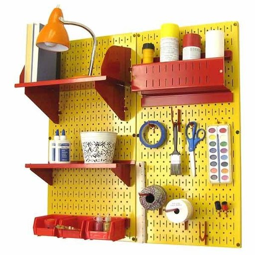 View a Larger Image of Wall Control Pegboard Hobby Craft Pegboard Organizer Storage Kit with Yellow Pegboard and Red Accessories