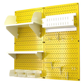 Wall Control Pegboard Hobby Craft Pegboard Organizer Storage Kit with Yellow Pegboard and White Accessories
