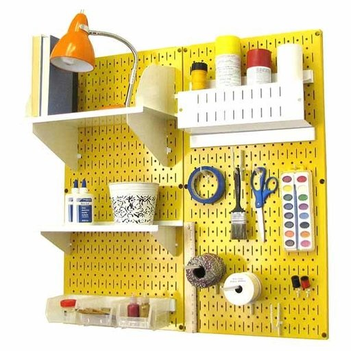 View a Larger Image of Wall Control Pegboard Hobby Craft Pegboard Organizer Storage Kit with Yellow Pegboard and White Accessories