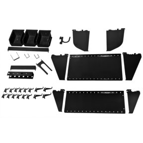 Slotted Tool Board Workstation Accessory Kit for Wall Control Pegboard, Black