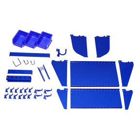 Slotted Tool Board Workstation Accessory Kit for Wall Control Pegboard, Blue