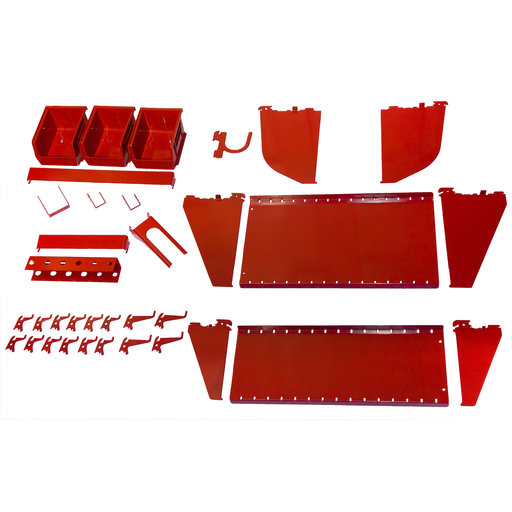 View a Larger Image of Slotted Tool Board Workstation Accessory Kit for Wall Control Pegboard, Red