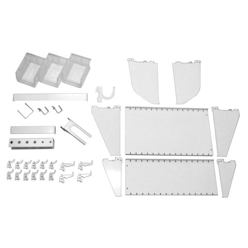 View a Larger Image of Wall Control Slotted Tool Board Workstation Accessory Kit for Wall Control Pegboard, White