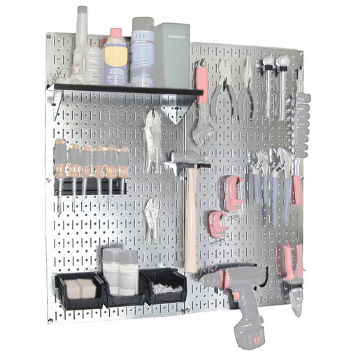 View a Larger Image of Steel Pegboard, Galvanized Utility Tool Storage Kit with Black Accessories