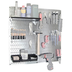 Wall Control Steel Pegboard, Galvanized Utility Tool Storage Kit with Black Accessories