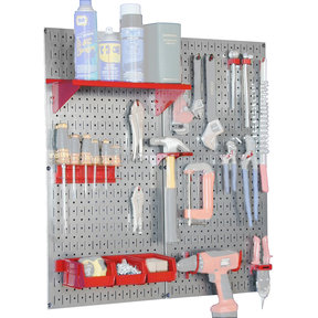 Wall Control Steel Pegboard, Galvanized Utility Tool Storage Kit with Red Accessories