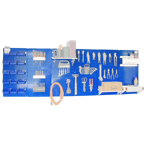 Wall Control Steel Pegboard, Master Workbench Kit in Blue with White Accessories, 8' of Coverage