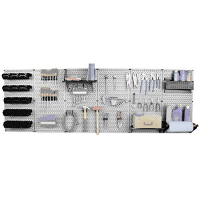 Wall Control Steel Pegboard, Master Workbench Kit in Gray with Black Accessories, 8' of Coverage