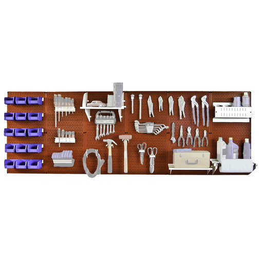 View a Larger Image of Wall Control Steel Pegboard, Master Workbench Kit in Red with White Accessories, 8' of Coverage