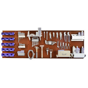 Wall Control Steel Pegboard, Master Workbench Kit in Red with White Accessories, 8' of Coverage