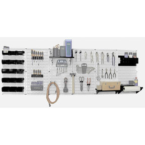 Wall Control Steel Pegboard, Master Workbench Kit in White with Black Accessories, 8' of Coverage