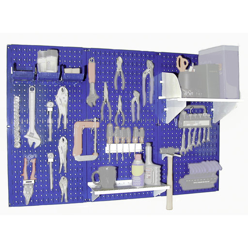 View a Larger Image of Wall Control Steel Pegboard, Standard Workbench Kit in Blue with White Accessories