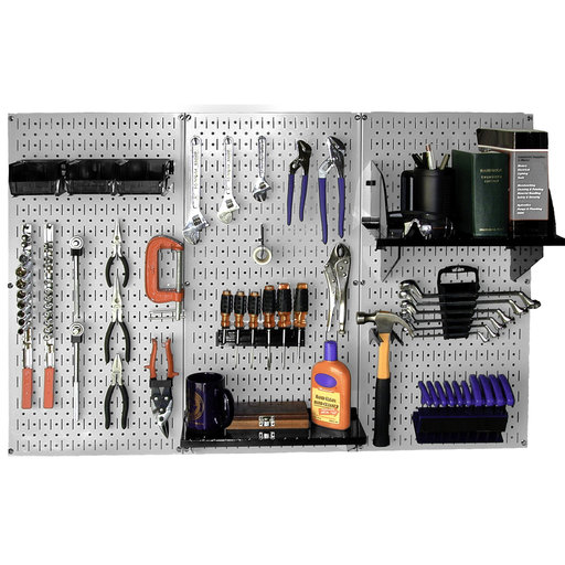 View a Larger Image of Wall Control Steel Pegboard, Standard Workbench Kit in Gray with Black Accessories