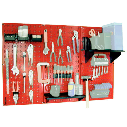 View a Larger Image of Wall Control Steel Pegboard, Standard Workbench Kit in Red with Black Accessories