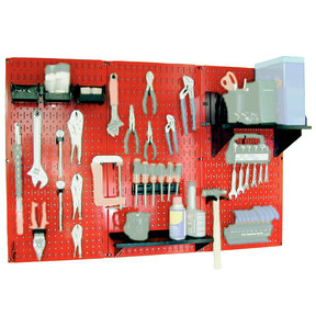 Wall Control Steel Pegboard, Standard Workbench Kit in Red with Black Accessories